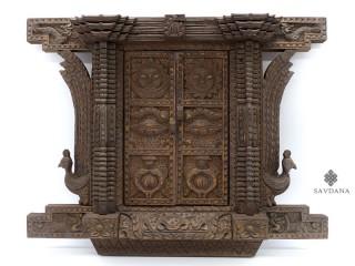 Div98 Porte Népalaise Traditionnelle Yeux de Bouddha Astamangala