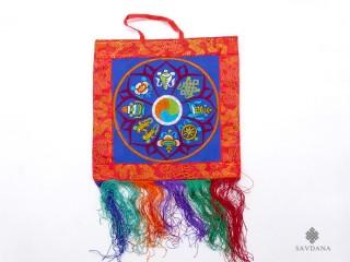 BB94 Bannière Tibétaine Signes Auspicieux du Bouddhisme