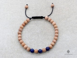 BrMala356 Bracelet Mala de Prières Tibétain Bois Lapis Lazuli