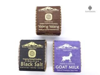 Savon10 Lot de 3 Savons Ayurvédiques du Népal. Lait de Chèvre, Ylang Ylang, Sel Noir
