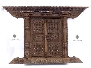 Div100 Porte Népalaise Traditionnelle Yeux de Bouddha