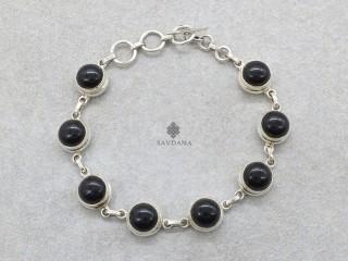 BrA51 Bracelet Argent Massif Onyx