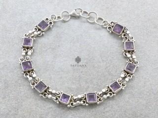BrA139 Bracelet Argent Massif Améthyste