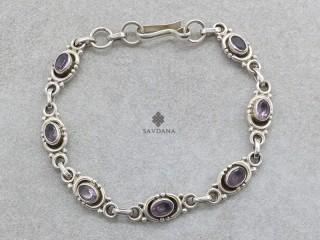BrA141 Bracelet Argent Massif Améthyste