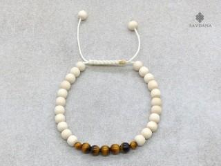 BrMala372 Bracelet Mala de Prières Tibétain Bois Oeil de Tigre