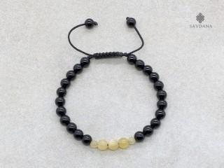 BrMala351 Bracelet Mala de Prières Tibétain Onyx Jade Jaune