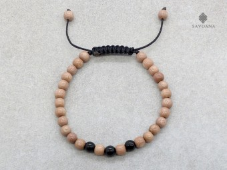 BrMala343 Bracelet Mala de Prières Tibétain Bois Onyx