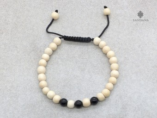 BrMala389 Bracelet Mala de Prières Tibétain Onyx Bois