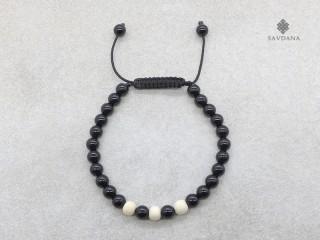 BrMala362 Bracelet Mala de Prières Tibétain Onyx Bois