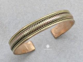 BrD424 Bracelet Tibétain Cuivre Laiton Métal Argenté