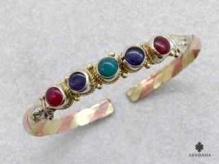 BrD427 Bracelet 3 Métaux Pierres