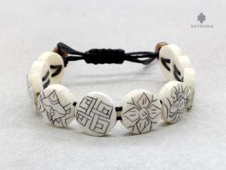 BrD214 Bracelet Tibétain Astamangala Os de Buffle