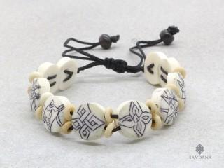 BrD380 Bracelet Tibétain Astamangala Os de Buffle