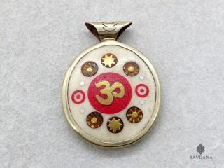 P116 Pendentif Tibétain Yeux de Bouddha Om Yin Yang