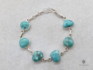 BrA07. Bracelet Tibétain Argent Massif Turquoise