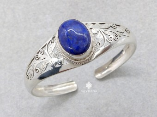 BrA144. Bracelet Tibétain Argent Massif Lapis Lazuli