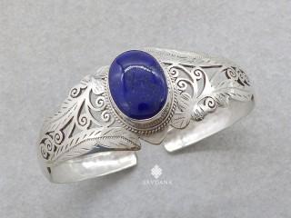 BrA145. Bracelet Tibétain Argent Massif Lapis Lazuli