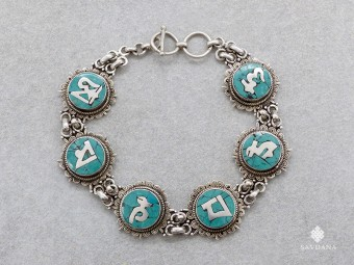 BrA147. Bracelet Tibétain Argent Massif Mantra Om Mani Padme Hum