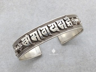 BrA76. Bracelet Tibétain Argent Massif Mantra Om Mani Padme Hum