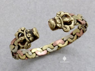 BrD431 Bracelet 3 Métaux Serpents
