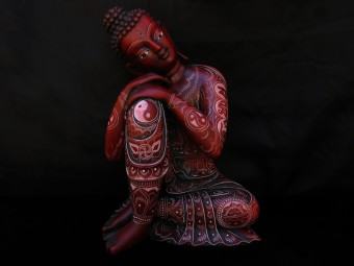 St31 Statue Bouddha Signes Auspicieux Mantra Yin Yang
