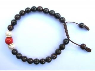 BrMala81 Bracelet Mala de Prières Tibétain Grenat