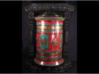 RP64 Grande Roue à Prières Tibétaine Mantra Astamangala