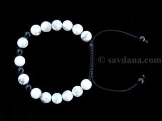 BrMala280 Bracelet Mala de Prières Tibétain Howlite Onyx