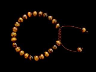 BrMala300 Bracelet Mala de Prières Tibétain Oeil de Tigre