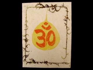 CrA05 Carnet Artisanal Népalais Feuille de Bodhi Om