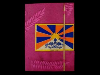 CrA43 Carnet Artisanal Népalais Drapeau du Tibet Free Tibet