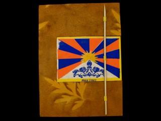 CrA44 Carnet Artisanal Népalais Drapeau du Tibet Free Tibet