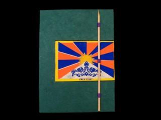 CrA47 Carnet Artisanal Népalais Drapeau du Tibet Free Tibet