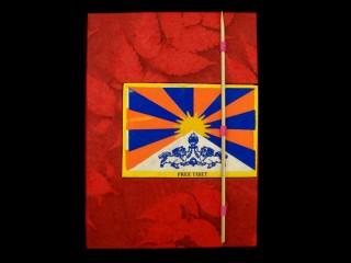 CrA51 Carnet Artisanal Népalais Drapeau du Tibet Free Tibet