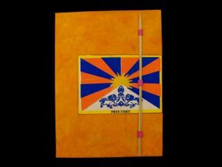 CrA52 Carnet Artisanal Népalais Drapeau du Tibet Free Tibet