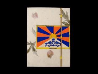 CrA53 Carnet Artisanal Népalais Drapeau du Tibet Free Tibet