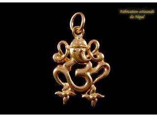 POr02 Pendentif Or 18 Carats Om Ganesh