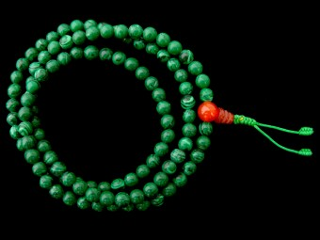 Mala94 Mala de Prières Tibétain Malachite