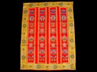 BB77 Rideau de Porte Tibétain / Tenture Tibétaine Signes Auspicieux du Bouddhisme
