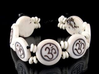 BrD208 Bracelet Tibétain Os de Buffle Om