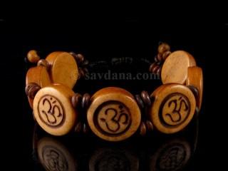 BrD211 Bracelet Tibétain Os de Buffle Om