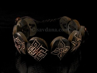 BrD213 Bracelet Tibétain Astamangala Os de Buffle