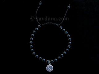 BrMala332 Bracelet Mala de Prières Tibétain Onyx Yin Yang Argent Massif 19 cm