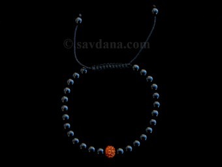 BrMala334 Bracelet Mala de Prières Tibétain Onyx Rudraksha. 21 cm