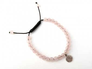 BrMala337 Bracelet Mala de Prières Tibétain Quartz Rose Noeud Sans Fin Argent Massif