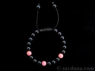 BrMala292 Bracelet Mala de Prières Tibétain Onyx Jaspe Rose