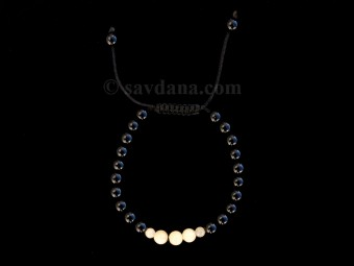 BrMala351 Bracelet Mala de Prières Tibétain Onyx Jade Jaune. 19 cm