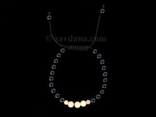 BrMala351 Bracelet Mala de Prières Tibétain Onyx Jade Jaune. 20 cm