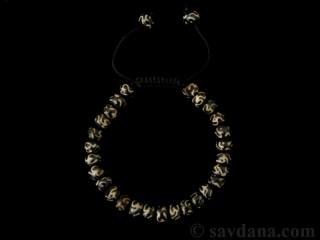 BrMala354 Bracelet Mala de Prières Tibétain OM Os de Buffle