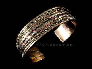 BrD229 Bracelet Tibétain Cuivre Laiton Métal Argenté